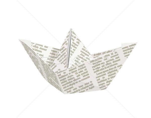 Paper origami ship. Handmade toy. Stock photo © Aleksangel