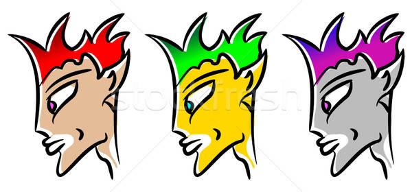 Cin avatar yüz yeşil kırmızı punk Stok fotoğraf © alekup