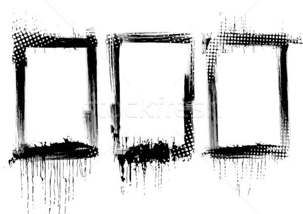 Grunge kareler boya çerçeve sanat siluet Stok fotoğraf © alekup