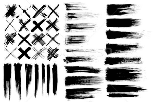çapraz doku siyah mürekkep beyaz çizim Stok fotoğraf © alekup