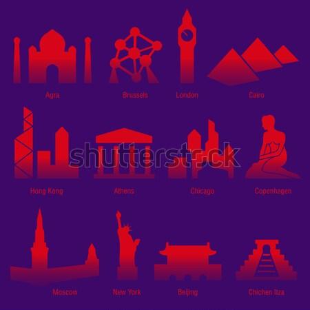 Steden wereld stad stedelijke silhouet architectuur Stockfoto © alekup