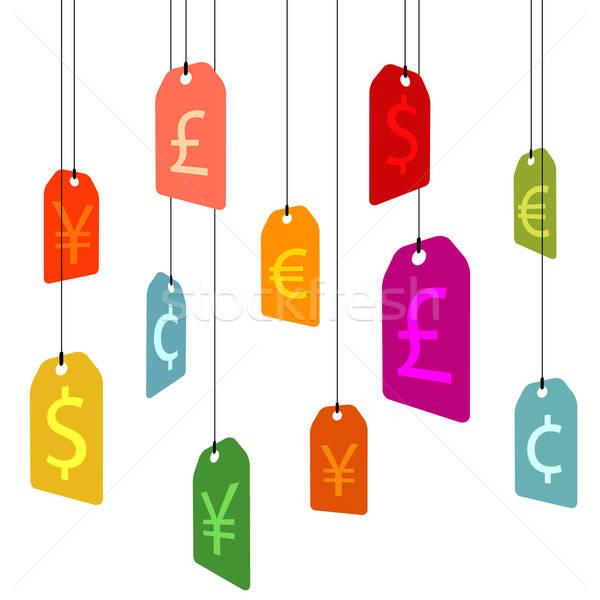 Asılı para işaretleri kâğıt alışveriş pazar Stok fotoğraf © alekup