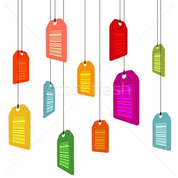 Opknoping markt kaart nota kleuren verkoop Stockfoto © alekup