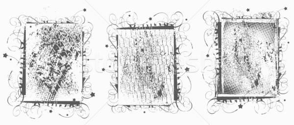 Grunge kareler çerçeve sanat Yıldız bağbozumu Stok fotoğraf © alekup