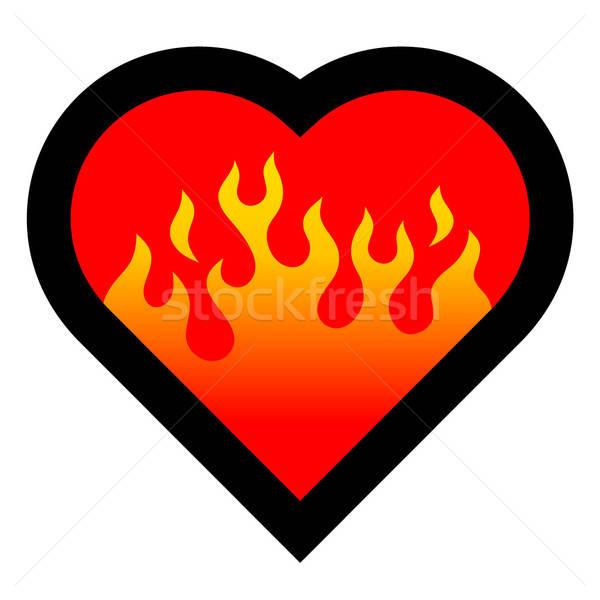 Yangın kalp kadın kız sevmek siyah Stok fotoğraf © alekup