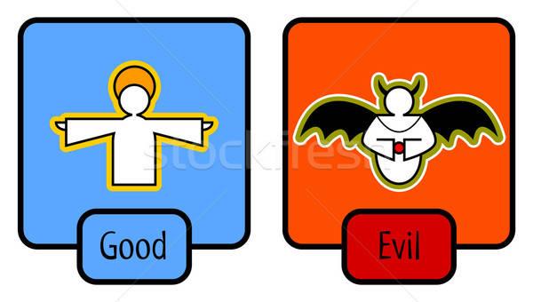 Goede kwaad symbolen liefde gelukkig ontwerp Stockfoto © alekup