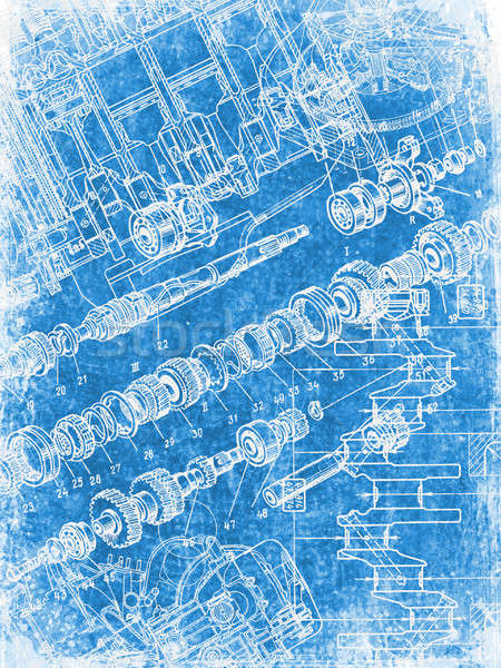 Grunge blauwdruk textuur bouw werk Blauw Stockfoto © alekup