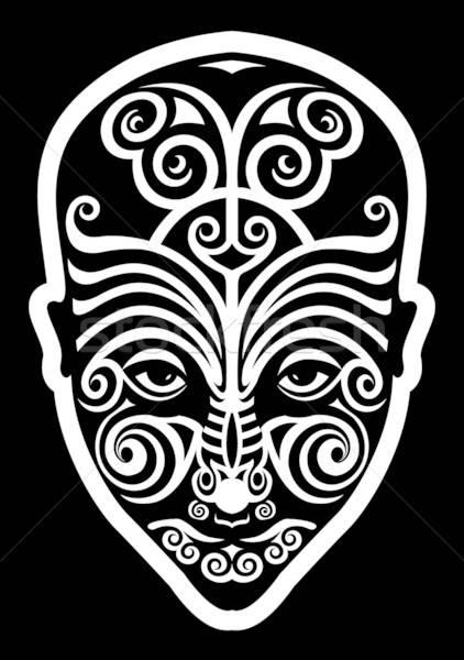 Cara tatuagem homem olhos retrato máscara Foto stock © alekup