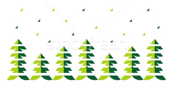 Noel ağaçlar kar beyaz yeni yalıtılmış Stok fotoğraf © alekup