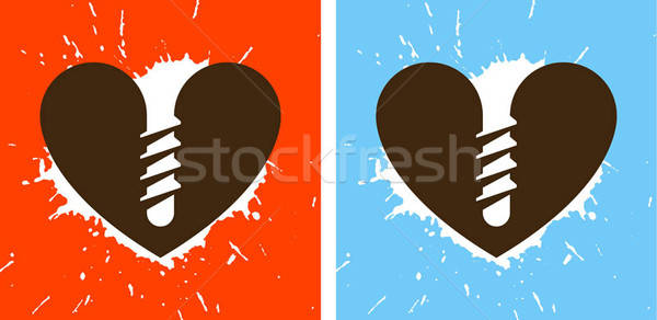 Kalp sevmek mürekkep çılgın ok kir Stok fotoğraf © alekup