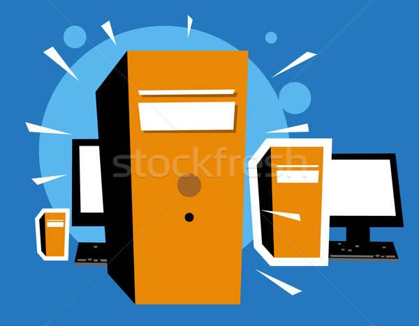 Persoonlijke computers oog zon laptop kunst Stockfoto © alekup