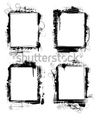 Grunge frames verf frame kunst silhouet Stockfoto © alekup