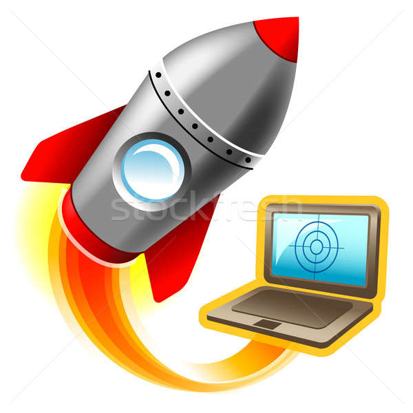 Illustratie computer raket vliegen brand Stockfoto © alekup