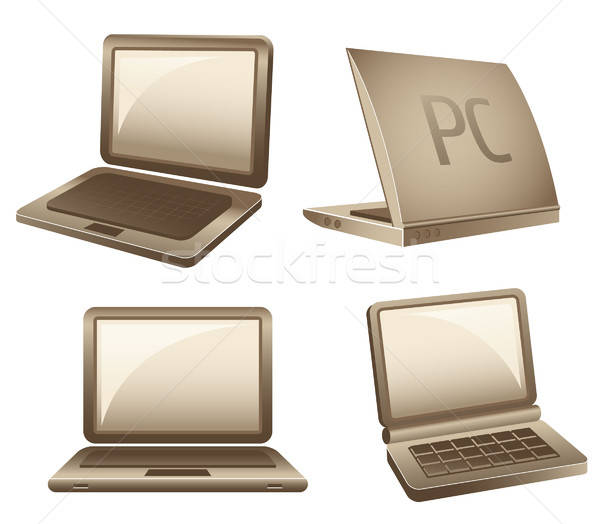 Notebook iconen laptops geïsoleerd witte business Stockfoto © alekup