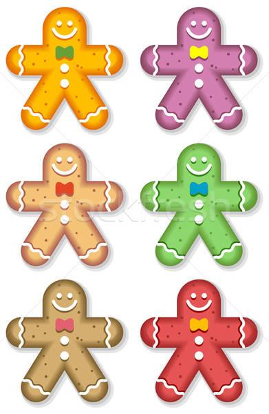 Peperkoek mannen seizoen- gingerbread man gekleurd cookies Stockfoto © alekup
