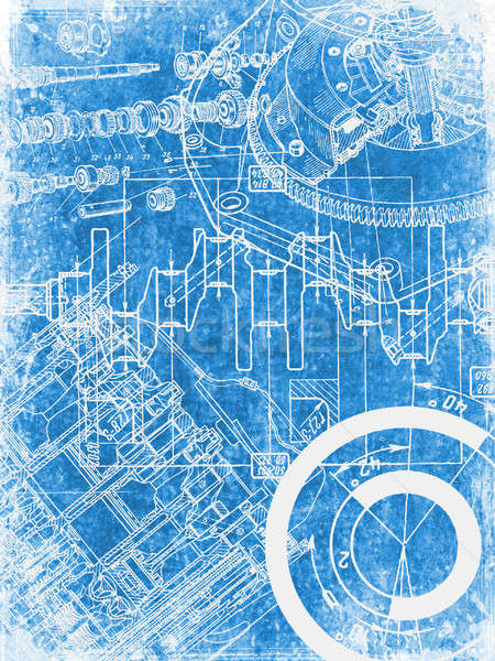Stock photo: grunge blueprint texture