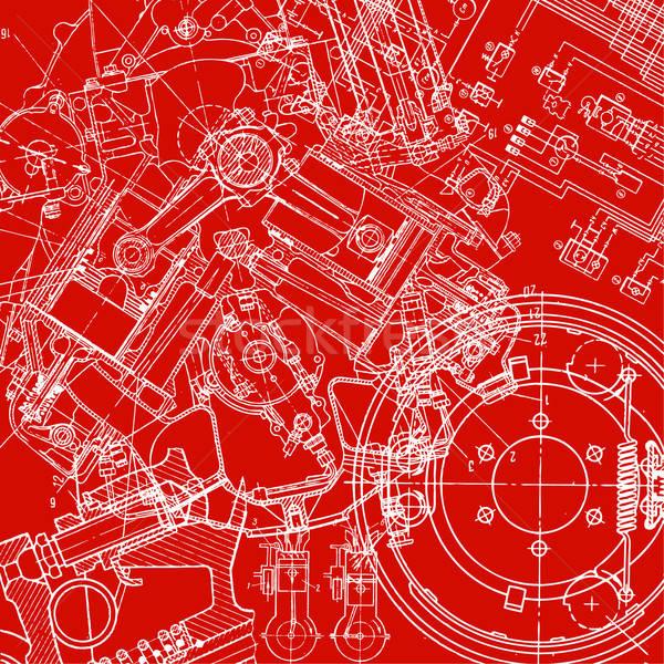 Technische tekening papier textuur bouw pen Stockfoto © alekup