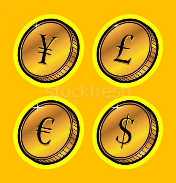 Moeda dourado moedas dinheiro trabalhar abstrato Foto stock © alekup