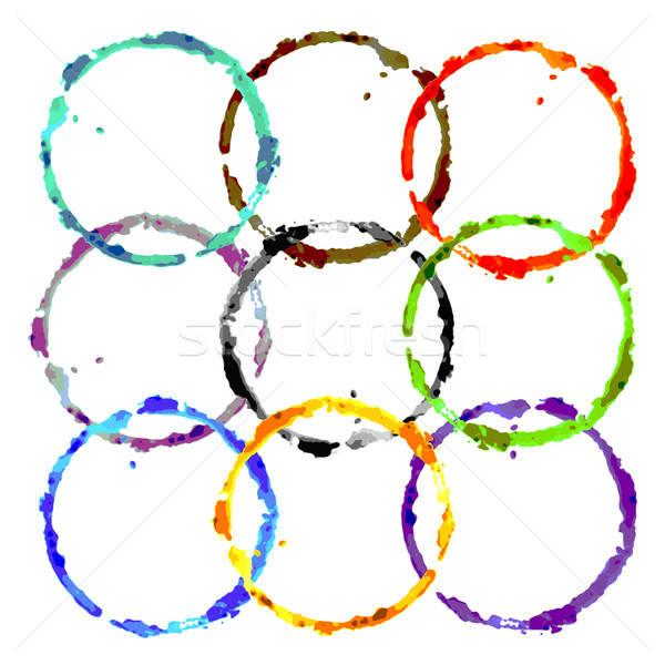 Grunge renkli halkalar doku şarap cam Stok fotoğraf © alekup