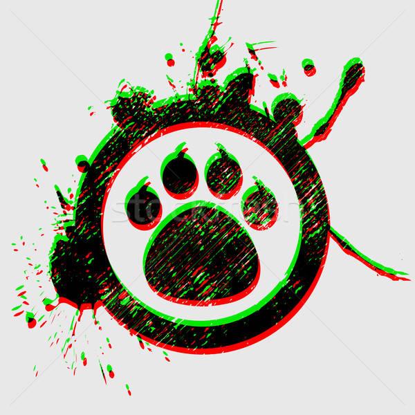 Kaplan pençe grunge daire doku köpek Stok fotoğraf © alekup