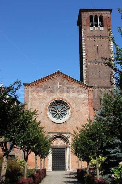 Aziz kilise milan İtalya manzara kapı Stok fotoğraf © alessandro0770