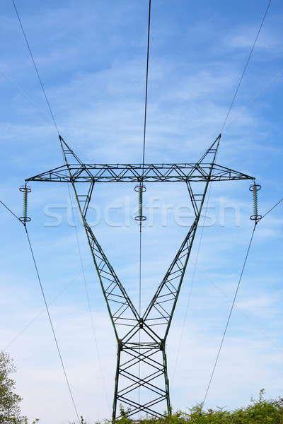 Güç hat kule mavi gökyüzü mavi endüstriyel Stok fotoğraf © alessandro0770