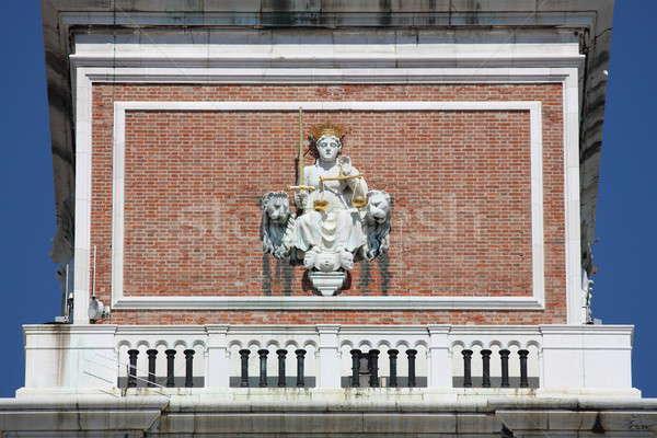 Adalet tanrıça heykel çan kule Venedik Stok fotoğraf © alessandro0770
