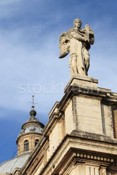 Angyal szobor angyalok bazilika homlokzat égbolt Stock fotó © alessandro0770