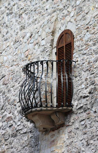 Medieval window and balcony with shutters closed Stock photo © alessandro0770