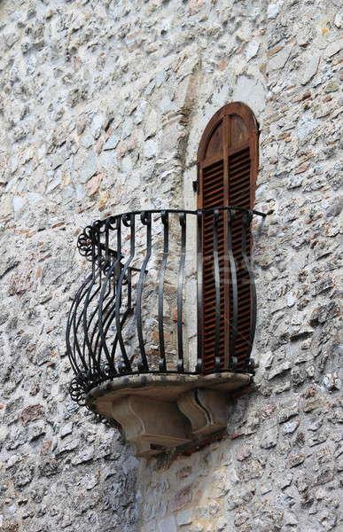 Medieval janela varanda fechado casa Foto stock © alessandro0770