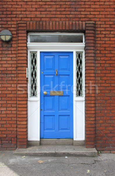 Ajtó Dublin Írország ház fal kék Stock fotó © alessandro0770