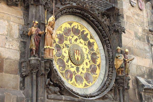 Prága csillagászati óra díszes naptár tárcsa Stock fotó © alessandro0770