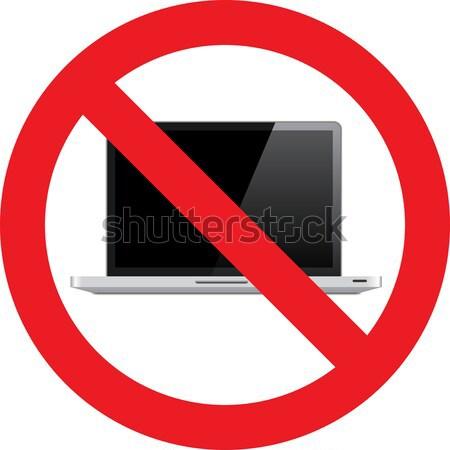 Não laptop assinar permitido tecnologia teclado Foto stock © alessandro0770