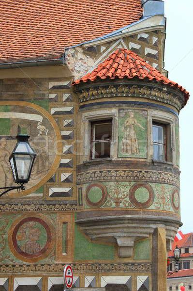 Сток-фото: средневековых · балкона · Чешская · республика · здании · улице · домой