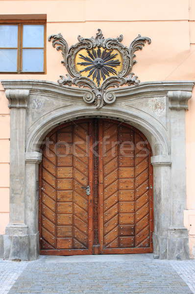 ön kapı Prag Çek Cumhuriyeti ahşap şehir kapı Stok fotoğraf © alessandro0770