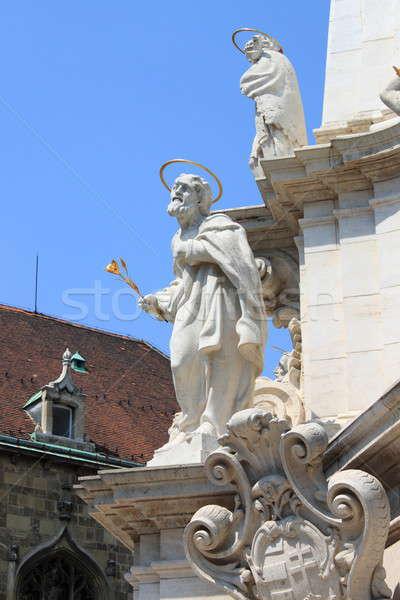 Stockfoto: Heilig · kolom · Boedapest · standbeeld · kerk