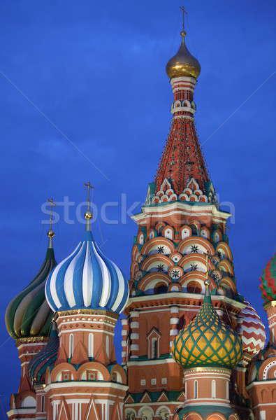 St Basil Cathedral noc Moskwa Rosja niebieski złota Zdjęcia stock © alessandro0770
