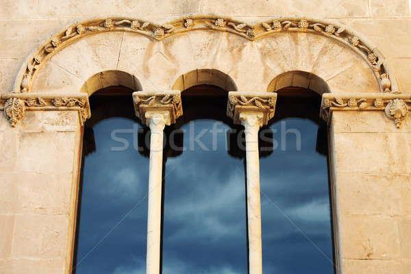 Középkori ablak dupla palota város Spanyolország Stock fotó © alessandro0770