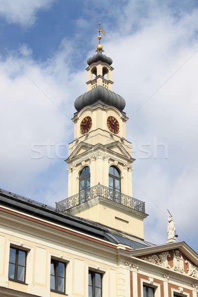 クロック 塔 市 ホール リガ ラトビア ストックフォト © alessandro0770