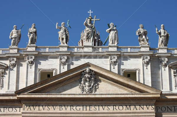 Statues on the top of Saint Peter Basilica facade Stock photo © alessandro0770
