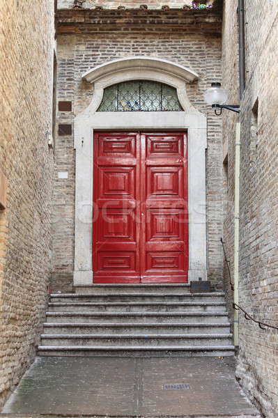 Középkori bejárati ajtó fából készült stílus ház fa Stock fotó © alessandro0770