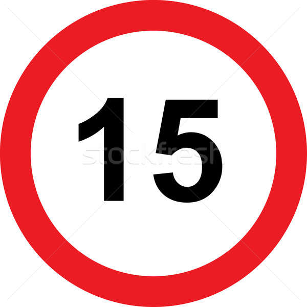 15 speed limitation road sign Stock photo © alessandro0770