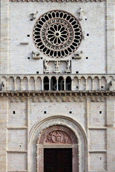 Saint cathédrale rose fenêtre Voyage statue Photo stock © alessandro0770