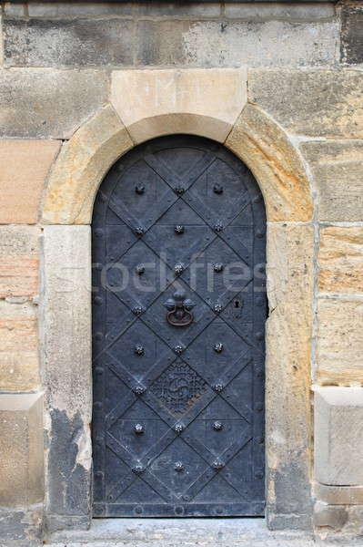 средневековых парадная дверь центра Прага Чешская республика здании Сток-фото © alessandro0770