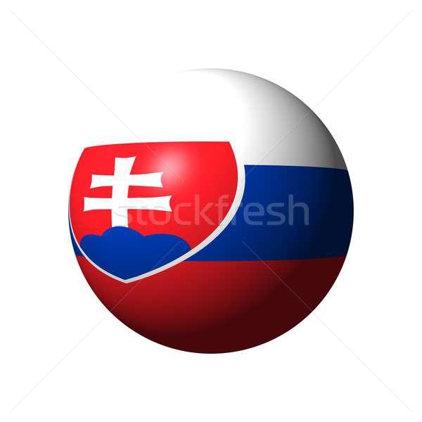 Küre bayrak Slovakya resmi ulus mavi Stok fotoğraf © alessandro0770