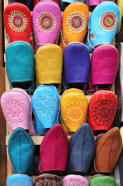Pelle pantofole vendita mercato moda arancione Foto d'archivio © alessandro0770