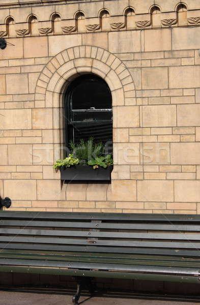 Medieval janela flores banco casa edifício Foto stock © alessandro0770