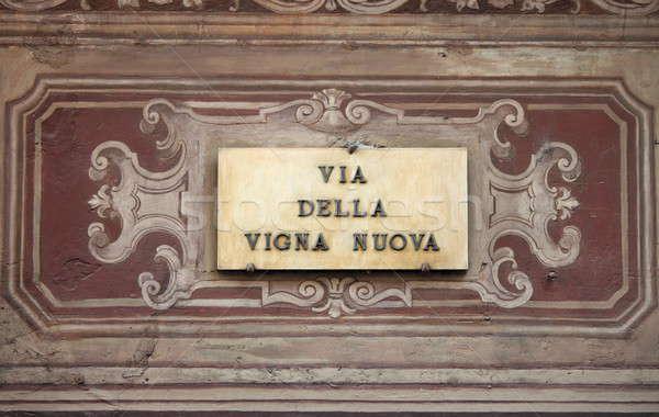 Jelzőtábla Florence Olaszország épület fal utca Stock fotó © alessandro0770