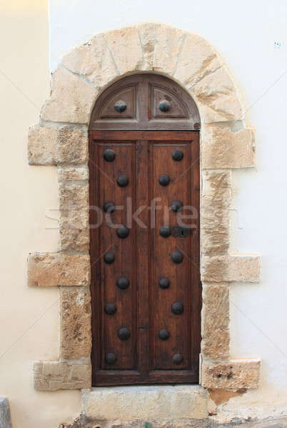 Middeleeuwse voordeur houten stijl huis hout Stockfoto © alessandro0770