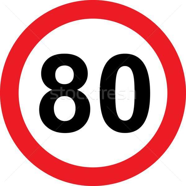 80 sebesség jelzőtábla fehér út rendőrség Stock fotó © alessandro0770